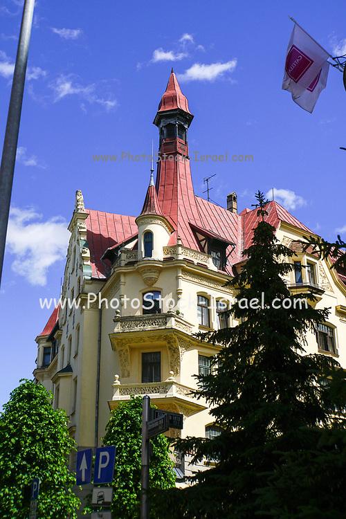 coloured Facade of a building in Riga, Latvia