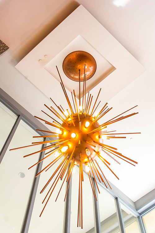A sputnik-like, Space Age chandelier in the lobby of 1688 Meridian Avenue, Miami Beach, designed in 1961 by leading Miami Modern architect Morris Lapidus.