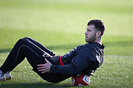Gareth Davies of Wales during the Wales Rugby team training at the Vale Resort, Hensol near Cardiff, South Wales on Tuesday 30th January 2018.  The team are preparing for the the opening Natwest 6 nations match against Scotland this weekend.  pic by Andrew Orchard, Andrew Orchard sports photography.