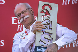 May 12, 2019 - Barcelona, Catalonia, Spain - Mercedes-Benz CEO DIETER ZETSCHE presents the constructors trophy at the Spanish GP on the podium at the Circuit de Barcelona - Catalunya (Credit Image: © Matthias Oesterle/ZUMA Wire)