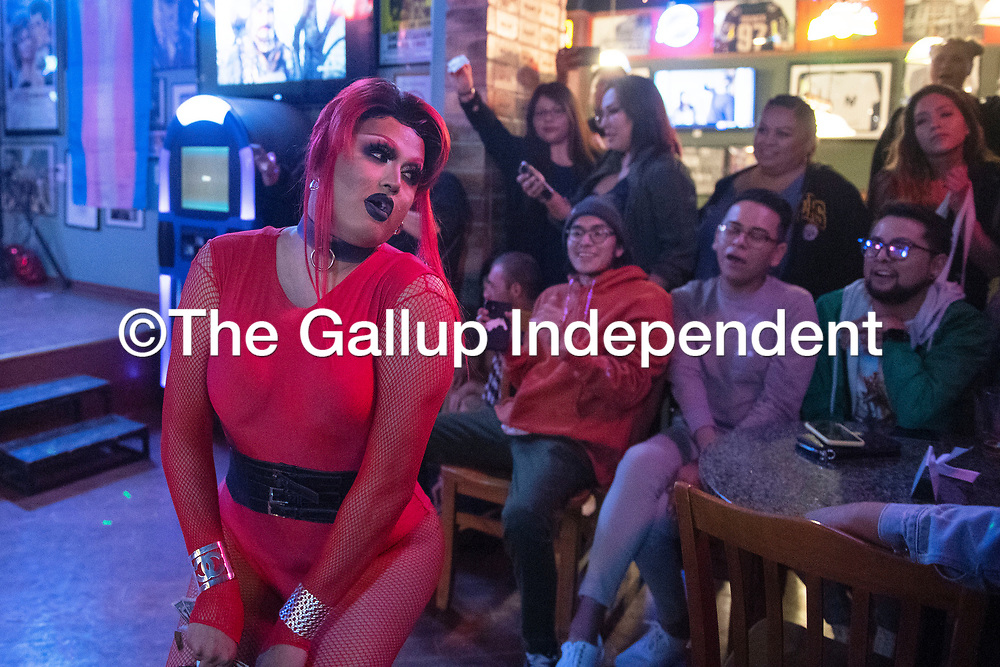 Tomahawk Martini performs at Diné Pride's Queen of Hearts Dance and Drag Show Saturday night at Sammy C's Rock N' Sports Pub & Grille in Gallup. Martini serves as Diné Pride's entertainment director.