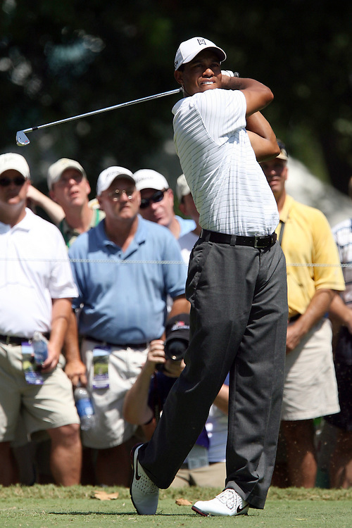 09 August 2007: Tiger Woods tees off on the 4th hole during the first round of the 89th PGA Championship at Southern Hills Country Club in Tulsa, OK.