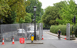 © Licensed to London News Pictures. 10/07/2018. London, UK. Road closures and a large metal barrier perimeter erected around the U.S Ambassador's residence in Regent's Park, London ahead of a visit by U.S President Donald Trump which starts on Thursday. Trump will be staying at Winfield House for part of his first visit to the UK as president. Photo credit: Ben Cawthra/LNP