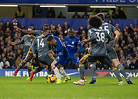 Football - 2018 / 2019 Premier League - Chelsea vs. Leicester City<br /> <br /> Leicester players provide a barrier to lock the run of Eden Hazard (Chelsea FC) at Stamford Bridge <br /> <br /> COLORSPORT/DANIEL BEARHAM