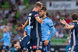 January 26, 2019 - Melbourne, VIC, U.S. - MELBOURNE, AUSTRALIA - JANUARY 26: Melbourne Victory forward Ola Toivonen (11) and Sydney FC midfielder Milos Ninkovic (10) have a confrontation at the Hyundai A-League Round 16 soccer match between Melbourne Victory and Sydney FC on January 26, 2019, at AAMI Park in VIC, Australia. (Photo by Speed Media/Icon Sportswire) (Credit Image: © Speed Media/Icon SMI via ZUMA Press)