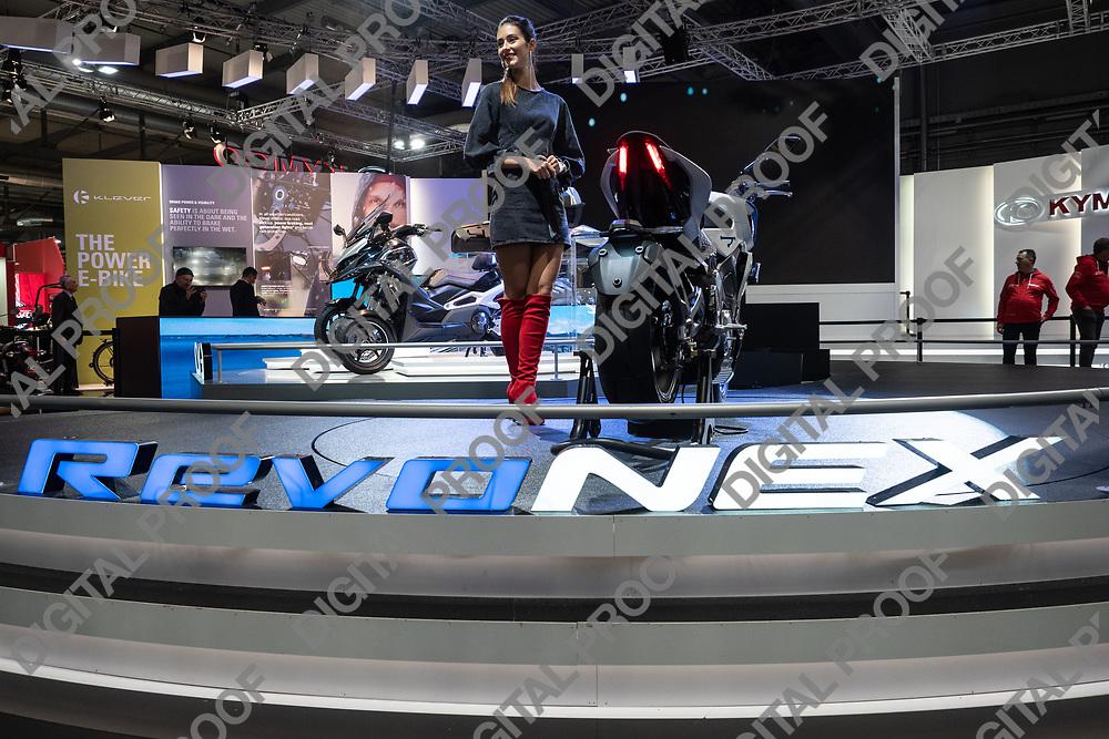 RHO Fieramilano, Milan Italy - November 07, 2019 EICMA Expo. Kymco unveils its renovex electric motorcycle model at EICMA 2019