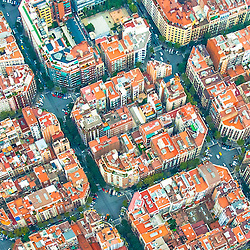 Aerial views of Barcelona Houses in Square Pods, streets