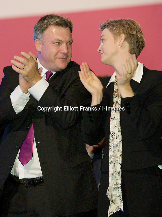 Ed Balls & Yvette Cooper watching speech during the Labour Party Conference in Manchester, October 4, 2012. Photo by Elliott Franks / i-Images.