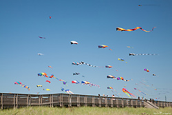 North America, USA, Washington, Long Beach. Kites flying near boardwalk, Washington State Kite Festival