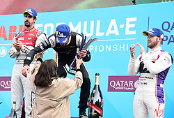 April 28, 2018 - Paris, France - Joie de Jean Eric Vergne ( Team TECHEETAH ) - Lucas di Grassi ( Team AUDI SPORT ABT SCHAEFFLER ) - Sam Bird ( Team DS VIRGIN RACING ) - Anne Hidalgo  (Credit Image: © Panoramic via ZUMA Press)