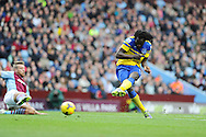 Everton 's Romelu Lukaku ® shoots and scores his sides 1st goal. Barclays Premier League, Aston Villa v Everton at Villa Park in Aston, Birmingham on Saturday 26th Oct 2013. pic by Andrew Orchard, Andrew Orchard sports photography,