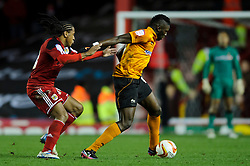 Wolves Midfielder Bakary Sako (FRA) is challenged by Bristol City Midfielder Neil Danns during the second half of the match - Photo mandatory by-line: Rogan Thomson/JMP - Tel: Mobile: 07966 386802 01/12/2012 - SPORT - FOOTBALL - Ashton Gate - Bristol. Bristol City v Wolverhampton Wanderers - npower Championship.