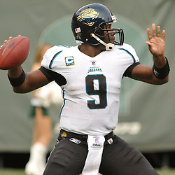 Nov 15, 2009; East Rutherford, NJ, USA; Jacksonville Jaguars quarterback David Garrard (9) passes during first half NFL action between the New York Jets and Jacksonville Jaguars at Giants Stadium.