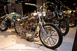 Tim Dixon's Gas Axe Chop Shop Pennie Lane custom 1959 Harley-Davidson Panhead in the AMD World Championship of Custom Bike Building in the Intermot Customized hall during the Intermot International Motorcycle Fair. Cologne, Germany. Friday October 5, 2018. Photography ©2018 Michael Lichter.
