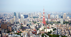 Wide angle view of Tokyo Tower and skyline of central Tokyo Japan