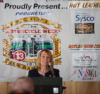 Governor Maggie Hassan welcomes distinguished guests gathered at Faro Restaurant in Weirs Beach on Thursday morning for the kickoff event of Motorcycle Week 2015.  (Karen Bobotas/for the Laconia Daily Sun)