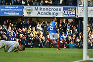 Portsmouth Midfielder, Ben Close (33) scores a goal to make it 1-1 turns away to celebrate during the EFL Sky Bet League 1 match between Portsmouth and Accrington Stanley at Fratton Park, Portsmouth, England on 4 May 2019.