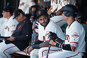 San Francisco Giants third baseman Pablo Sandoval (48) talks with San Francisco Giants center fielder Gorkys Hernandez (66) in the dugout during a MLB game against the Arizona Diamondbacks at AT&T Park in San Francisco, California, on August 6, 2017. (Stan Olszewski/Special to S.F. Examiner)