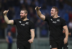 November 24, 2018 - Rome, Italy - Italy v New Zealand All Blacks - Rugby Cattolica Test Match.New Zealands Dane Coles and Nathan Harris greeting the supporters at Olimpico Stadium in Rome, Italy on November 24, 2018. (Credit Image: © Matteo Ciambelli/NurPhoto via ZUMA Press)