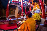 Monks chanting, Hemis Monastery, Ladakh, Jammu and Kashmir State, India.