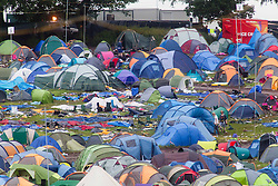 View of the empty campsite on Monday at T in the Park 2012, held at Balado, in Fife, Scotland.