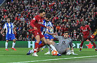 Football - 2018 / 2019 UEFA Champions League - Quarter-Final, First Leg: Liverpool vs. Porto<br /> <br /> Trent Alexander - Arnold of Liverpool has his shot saved by the feet of goalkeeper, Iker Casillas, at Anfield.<br /> <br /> COLORSPORT/ANDREW COWIE