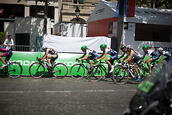 The front of the peloton keeps the tempo high during the La Course, a 89 km road race in Paris on July 24, 2016 in France.