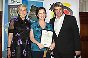 NO FEE PICTURES<br /> 25/1/19 Gemma Fullam, winner of Best Short Haul, presented by Barbara Stack of Sunway and Eoghan Corry, editor of Travel Extra pictured at the Travel Extra Travel Journalist of the Year 2018 at the Clayton Hotel, Ballsbridge in Dublin. Picture; Arthur Carron