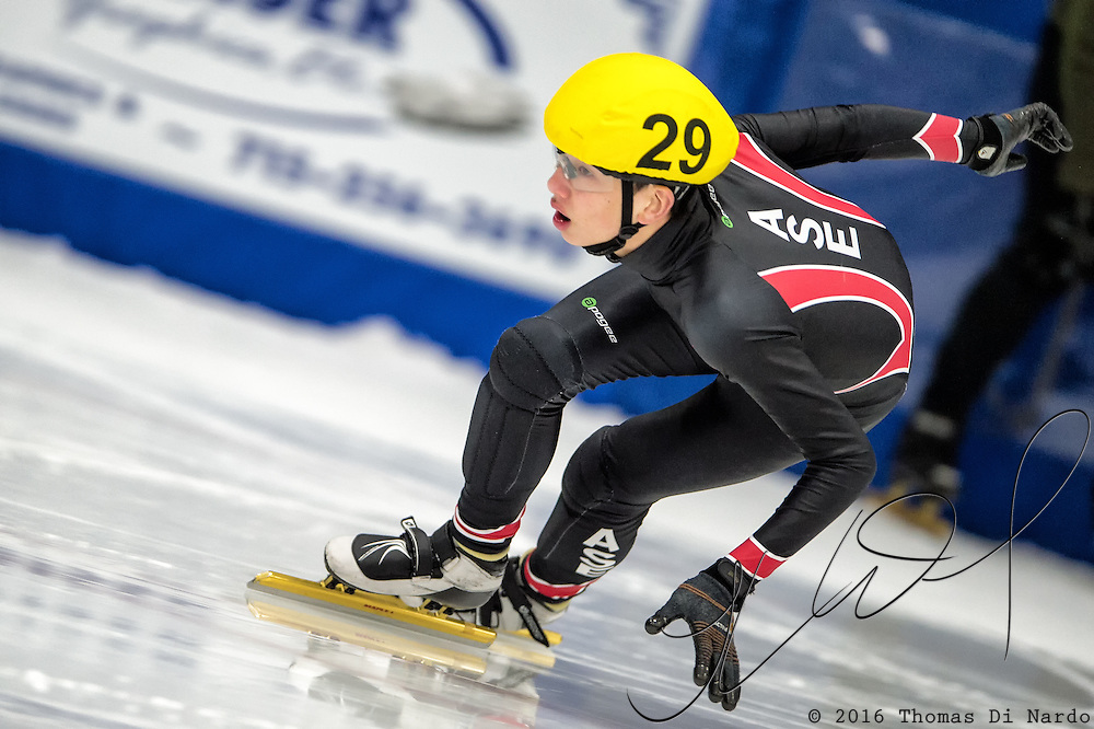 March 19, 2016 - Verona, WI - Joel Foster, skater number 29 competes in US Speedskating Short Track Age Group Nationals and AmCup Final held at the Verona Ice Arena.