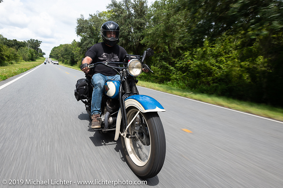 Brian Doerfler riding his 1935 Harley-Davidson VL in the Cross Country Chase motorcycle endurance run from Sault Sainte Marie, MI to Key West, FL. (for vintage bikes from 1930-1948). 287 mile ride of Stage-8 from Tallahassee to Lakeland, FL USA. Friday, September 13, 2019. Photography ©2019 Michael Lichter.