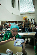 "Bp-or-not-Bp stage a splash mob dressed as merfolk at the British Museum in protest against the continued sponsorship by the oil company Bp, in particular against  the sponsorhsip of the exhibition 'Sunken Cities"". Merfolk getting ready to perfom. The merfolk sang and performed around the museum with placards rejoycing BP and the rising sea levels because as merfolk they will benefit from climate change. The public were invited to add their thoughts on future sunken cities around the world and to participate in the ongoing debate on oil and climate change. (photo by Kristian Buus/In Pictures via Getty Images)"