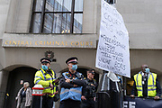 Supporters of Wikileaks founder Julian Assange protest outside London's Old Bailey court as his fight against extradition to the US has resumed, on 7th September 2020, in London, England. Assange has been in Belmarsh Prison for 16 months and is wanted over the publication of classified documents in 2010 and 2011. If convicted in the US, he faces a possible penalty of 175 years in jail.