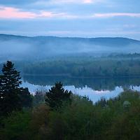 North America, Canada, Nova Scotia, Guysborough. Fog settling over Chedabucto Bay.