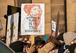 Protesters in Edinburgh, men as well as women, joined the Edinburgh Women's March protests that are taking place across the world to protest for women's rights and against the new US President Donald Trump. Protesters gathered outside the US Consulate and listened to various speakers earlier this afternoon in a peaceful and well mannered protest.<br /> <br /> <br /> © Jon Davey/ EEm
