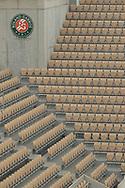 Seats without public during the Roland Garros 2020, Grand Slam tennis tournament, on September 30, 2020 at Roland Garros stadium in Paris, France - Photo Stephane Allaman / ProSportsImages / DPPI