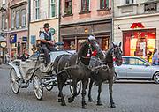Dorożka na ulicy Grodzkiej w Krakowie.<br /> A cab on Grodzka Street in Krakow.
