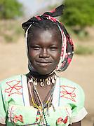 Portrait of a girl of the Nuba tribe in Nyaro village, Kordofan region, Sudan