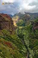 Waimea Canyon during helicopter tour in Kauai, Hawaii, USA