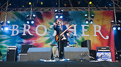Leonard Newell, singer with the English indie band Brother, play the main stage at Rockness 2011..Pic ©2011 Michael Schofield. All Rights Reserved..