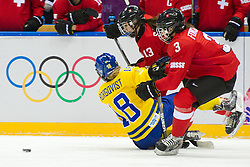 20.02.2014, Bolshoy Ice Dome, Adler, RUS, Sochi, 2014, Eishockey Damen, Spiel um die Bronzemedaille, im Bild Anna Borgqvist (SWE) gegen Sara Benz (SUI), Sarah Forster (SUI) // during Womens Icehockey Match for Bronze Medal of the Olympic Winter Games Sochi 2014 at the Bolshoy Ice Dome in Adler, Russia on 2014/02/20. EXPA Pictures © 2014, PhotoCredit: EXPA/ Freshfocus/ Urs Lindt<br /> <br /> *****ATTENTION - for AUT, SLO, CRO, SRB, BIH, MAZ only*****
