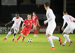 NEWPORT, WALES - Tuesday, October 16, 2018: Wales' Joseff Morrell in action during the UEFA Under-21 Championship Italy 2019 Qualifying Group B match between Wales and Switzerland at Rodney Parade. (Pic by Laura Malkin/Propaganda)