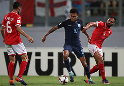 England's Dele Alli and Malta's Steve Borg battle for the ballduring the 2018 FIFA World Cup Qualifying, Group F match at the National Stadium, Ta' Qali. PRESS ASSOCIATION Photo. Picture date: Friday September 1, 2017. See PA story SOCCER Malta. Photo credit should read: Nick Potts/PA Wire. RESTRICTIONS: Use subject to FA restrictions. Editorial use only. Commercial use only with prior written consent of the FA. No editing except cropping.