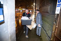 © Licensed to London News Pictures . 02/05/2019. Bolton, UK. The first ballot box , from the Halliwell ward , is brought in to the count . The count for Bolton Council at Bolton Town Hall . The Labour Party are threatened to lose their majority on the council . Local council elections are taking place across the country . Photo credit: Joel Goodman/LNP