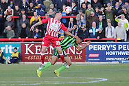 Darius Charles defender for AFC Wimbledon (32) feels the challenge from Billy Kee striker Accrington Stanley (29) during the Sky Bet League 2 play-off 2nd leg match between Accrington Stanley and AFC Wimbledon at the Fraser Eagle Stadium, Accrington, England on 18 May 2016. Photo by Stuart Butcher.