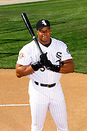 TUCSON - MARCH 5:  Frank Thomas of the Chicago White Sox poses for a portrait during spring training in Tucson, Arizona on March 5, 2002.  Thomas played for the White Sox from 1990-2005.  (Photo by Ron Vesely)