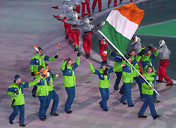 Ireland flag-bearer Seamus O'Connor during the Opening Ceremony of the PyeongChang 2018 Winter Olympic Games at the PyeongChang Olympic Stadium in South Korea.