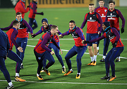 Left to right, England's Gary Cahill, Harry Winks, Ryan Bertrand, Jordan Henderson, Jake Livermore, Eric Dier, John Stones, Daniel Sturridge and Harry Maguire during the training session at the LFF Stadium, Vilnius.
