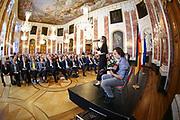 Mannheim. 03.10.19  Schloss Rittersaal. Festakt zum Tag der Deutschen Einheit. CDU Festakt mit Gastredner Christian Wulff Bundespräsident a.D. (Er war von 2010 bis zu seinem Rücktritt im Jahr 2012 der zehnte Bundespräsident der Bundesrepublik Deutschland. Zuvor war Wulff von 2003 bis 2010 Ministerpräsident des Landes Niedersachsen.)<br /> - <br /> <br /> <br /> <br /> Bild: Markus Prosswitz  03OCT19 / Photo-Proßwitz & masterpress  (Bild ist honorarpflichtig - No Model Release!) <br /> BILD- ID 84  