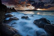 Surf and rocks at Shark's Cove, North Shore, Oahu, Hawaii