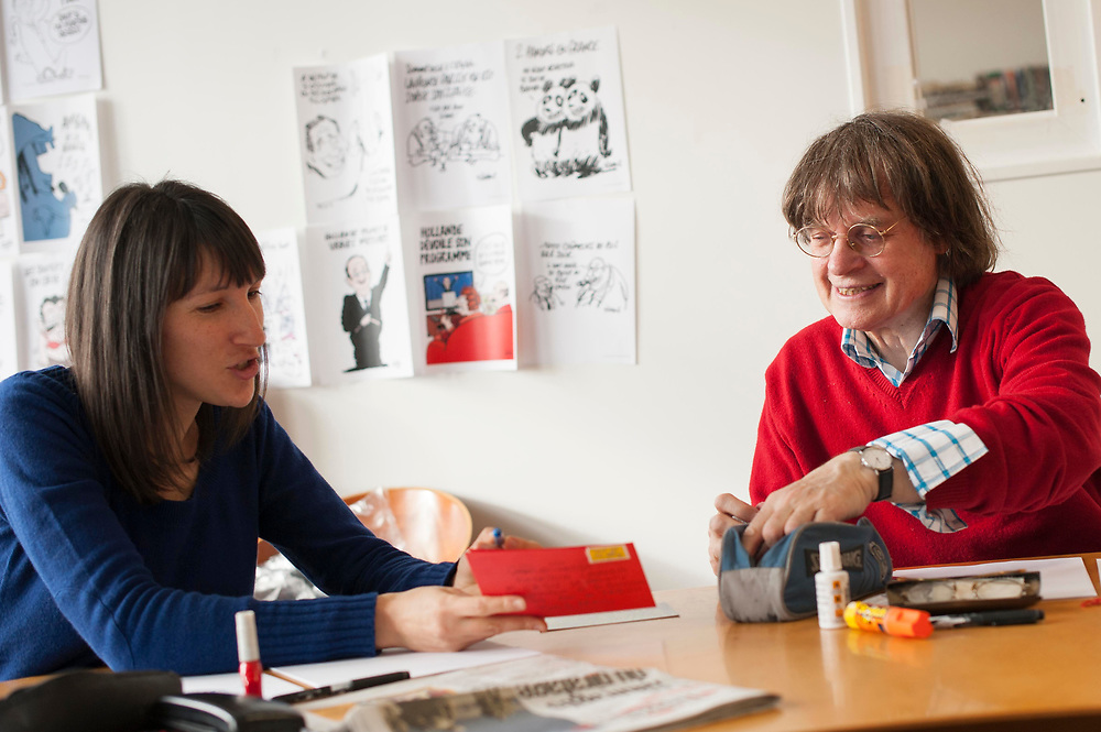 """Cabu, (R)  killed.<br />   <br /> Catherine Meurisse (L) and  Cabu (Jean Cabut), artists at Charlie Hebdo, Paris, France. Charlie Hebdo is a French magazine that published cartoons mocking Mohammed and the magazine, which has a circulation of about 55,000, was fire-bombed last year after it published a previous set of cartoons that mocked Islam. France's Muslim leaders and militants protests over the cartoons, and Frances embassies were closed across the Islamic world. The cartoons in Charly Hebdo were published as often violent -- and sometimes deadly --protests continued across the world against an anti-Islam film made in the US that enraged many Muslims. Arab League Secretary-General Nabil Elaraby called the drawings outrageous but said those who were offended by them should """"use peaceful means to express their firm rejection""""."""